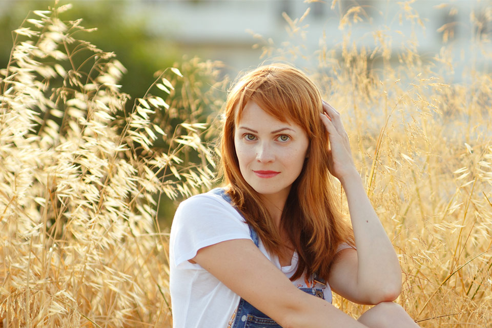 red-haired woman with soft hair